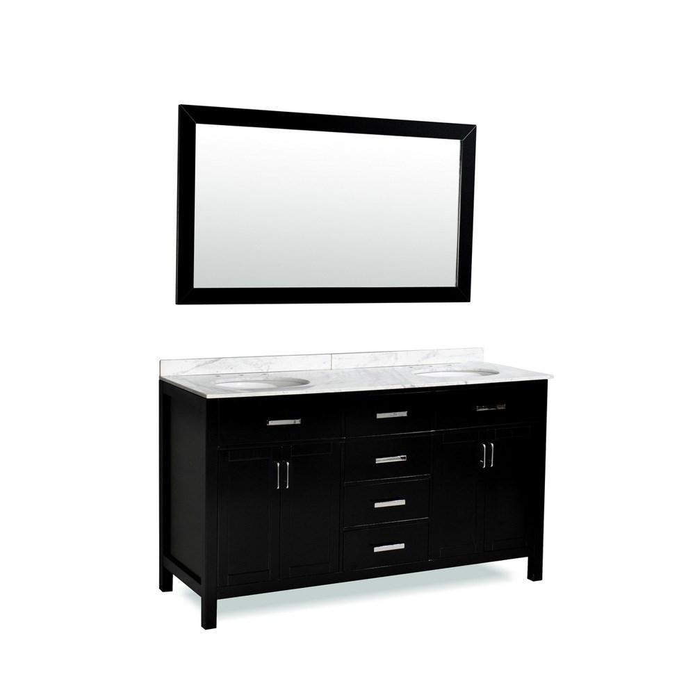 "Belmont decor Hampton 72"" Double Sink Vanity Set with Carrera White Marble Countertop - Espressonohtin Sale $1399.00 SKU: DM2D4-72-BLK :"