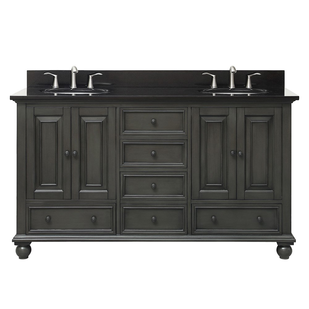"Avanity Thompson 60"" Double Bathroom Vanity - Charcoal Glazenohtin Sale $1190.00 SKU: THOMPSON-60-CL :"