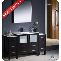 "Fresca Torino 60"" Espresso Modern Bathroom Vanity with 2 Side Cabinets & Undermount Sink FVN62-123612ES-UNS"