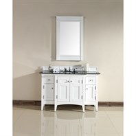"James Martin 53"" North Hampton Single Vanity with Absolute Black Top - White 900-V53-PWH-ABK"