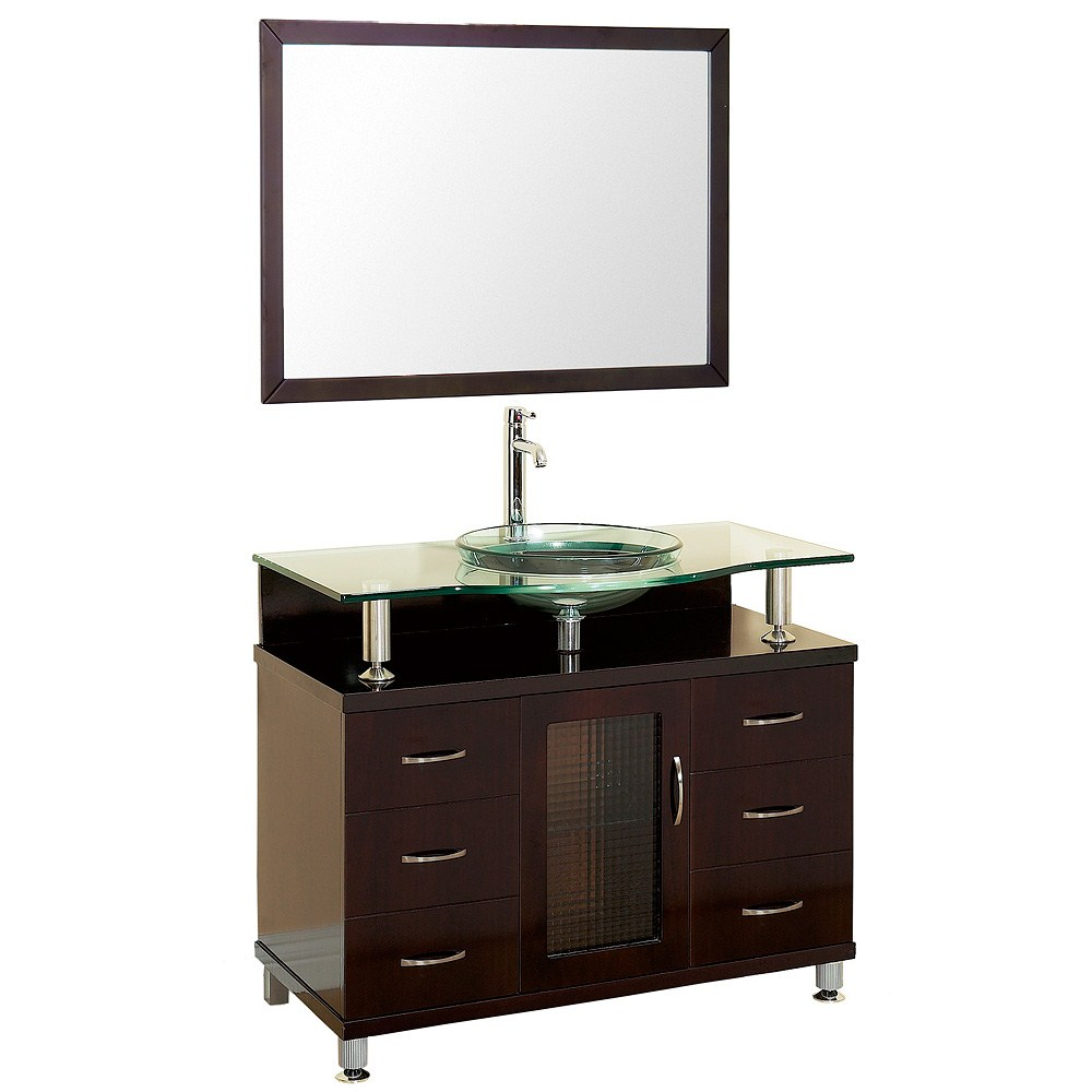 "Charlton 48"" Bathroom Vanity with Drawers - Espresso w/ Clear or Frosted Glass Counternohtin"