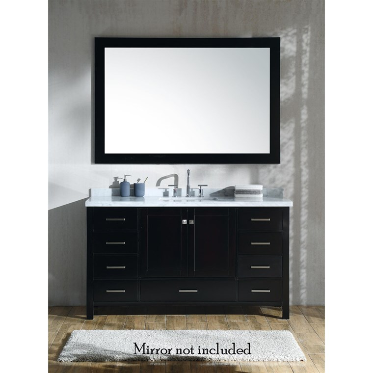 "Ariel Cambridge 61"" Single Sink Vanity with Rectangle Sink and Carrara White Marble Countertop - Espresso A061SCWRVOESP"