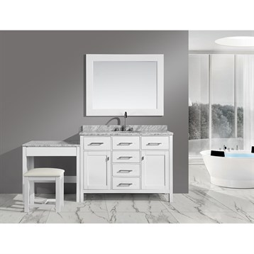 """Design Element London 42"""" Bathroom Vanity Set with Make-up Table, White DEC076F-W_MUT-W by Design Element"""