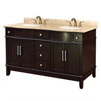 "Anna 61"" Transitional Double Bathroom Vanity - Dark Cherry H005-61"