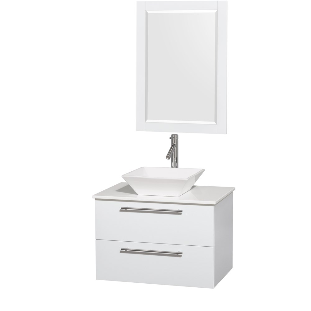 "Amare 30"" Wall-Mounted Bathroom Vanity Set with Vessel Sink by Wyndham Collection - Glossy Whitenohtin Sale $899.00 SKU: WC-R4100-30-WHT :"