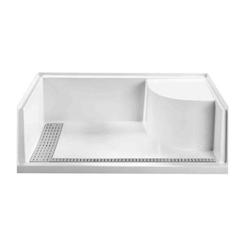 "MTI MTSB-6030BFSEATED Multi-Threshold Shower Base, Barrier Free with Seat, 60"" x 30"" MTSB-6030BFSEATED by MTI"