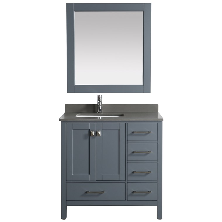 "Design Element London Hyde 36"" Single Sink Vanity - Gray DEC082F-G-GT"