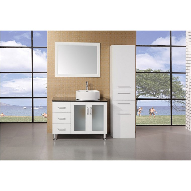 "Design Element Seabright 39"" Single Sink Modern Bathroom Vanity - White DEC066B-W"
