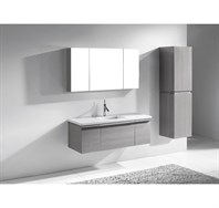 "Madeli Venasca 48"" Bathroom Vanity for Quartzstone Top - Ash Grey B990-24-002-AG, 2X-UC990-12-007-AG-QUARTZ"