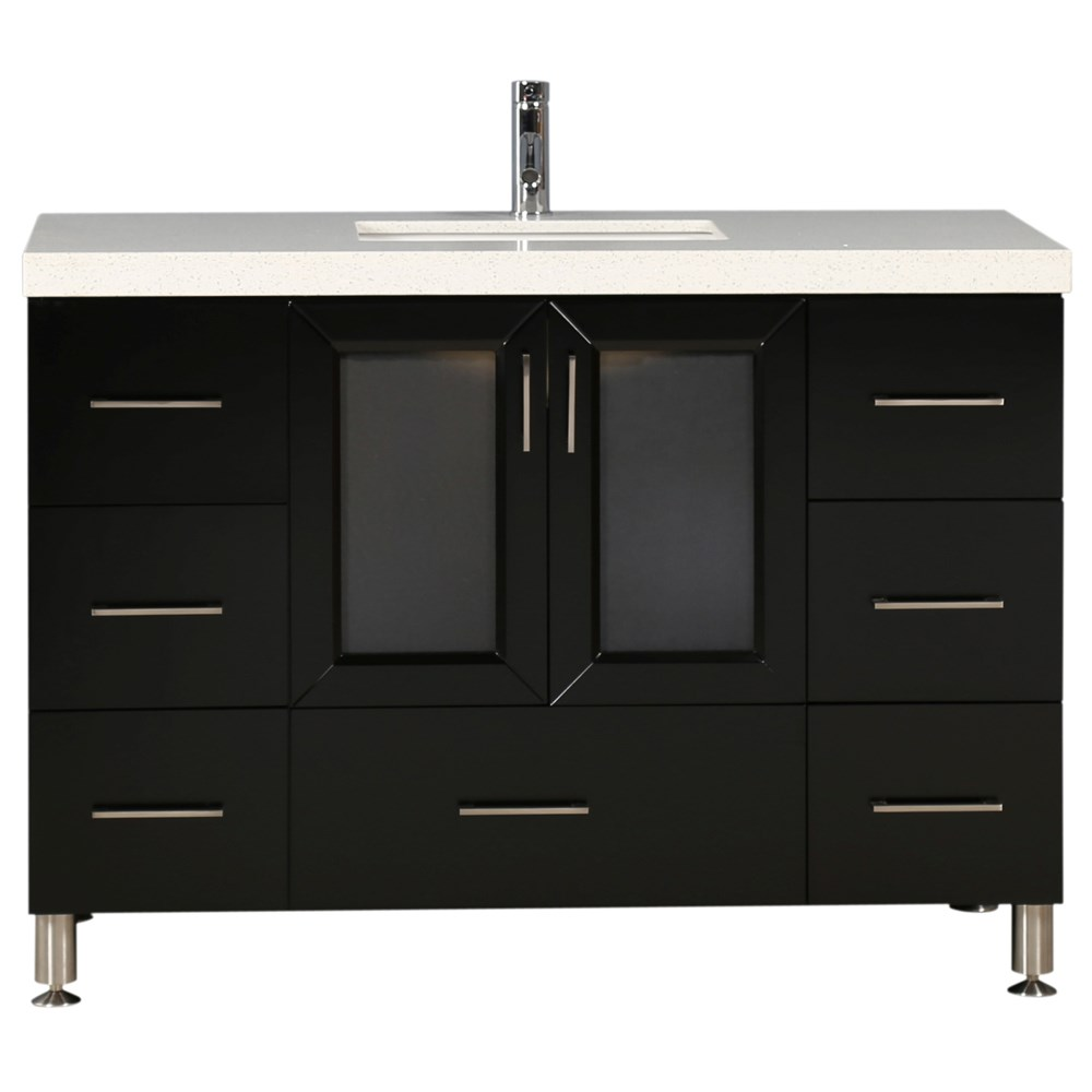 """This 48"""" Westfield Collection single-sink vanity in espresso is solidly constructed of hardwood. The contemporary design beauty of the espresso cabinetry and quartz countertop bring a modern vantage to any bathroom setting for original design or upgrade. Seated at the base of the single porcelain sink is the chrome finish pop-up drains, designed for easy one-touch draining. This beautiful vanity has ample storage, which includes soft-closing double-door cabinets and seven pullout drawers. Knobs and handles are all elegantly accented with fine brushed satin nickel. Mirror is not included.Features Solid Hardwood Cabinet ConstructionMulti-Layer DURA-Lacquer Semi-Gloss Espresso FinishWhite Quartz CountertopOne Under-Mount Porcelain White SinkChrome Pop-Up DrainsSeven Pullout DrawersOne Soft-Closing Double DoorsFine-Brushed Satin Nickel HardwareVanity Set Includes: Cabinet, Countertop and Sink How to handle your counterSpec Sheet"""