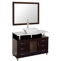 "Accara 42"" Bathroom Vanity with Drawers - Espresso w/ White Carrera Marble Counter B706D-42-ESP-WHTCAR"