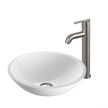 Vigo Flat Edged White Phoenix Stone Glass Vessel Sink with Brushed Nickel Faucet VGT211- by Vigo Industries