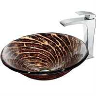 VIGO Chocolate Caramel Swirl Glass Vessel Sink and Faucet Set in Chrome VGT184