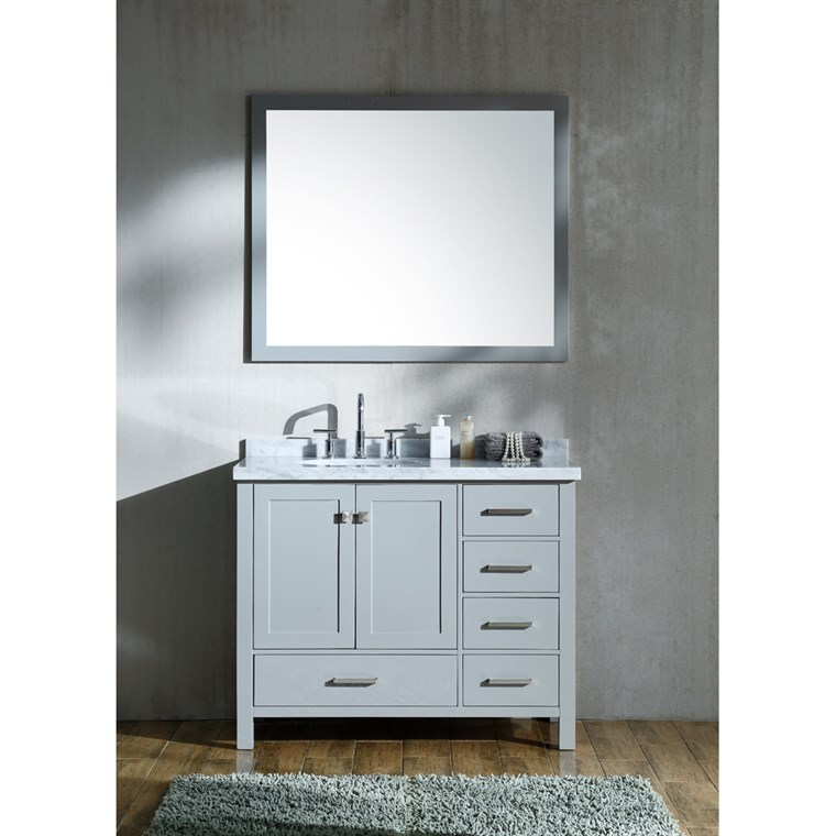"Ariel Cambridge 43"" Single Sink Vanity Set with Left Offset Sink and Carrara White Marble Countertop - Grey A043S-L-GRY"