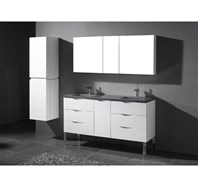 "Madeli Milano 60"" Double Bathroom Vanity for Quartzstone Top - Glossy White B200-60-002-GW-QUARTZ"