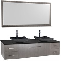 "Bianca 72"" Wall-Mounted Double Bathroom Vanity - Gray Oak Finish with Black Granite Countertop WHE007-72-GROAK-BLK-"