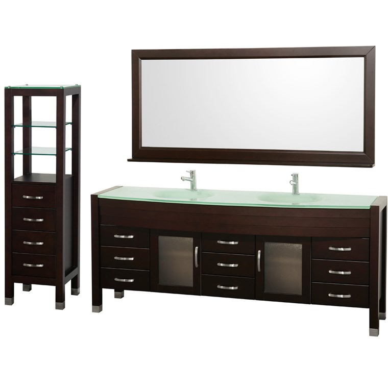 "Daytona 78"" Double Bathroom Vanity Set & Side Cabinet by Wyndham Collection - Espresso WC-A-W2200-78-ESP-SET-"