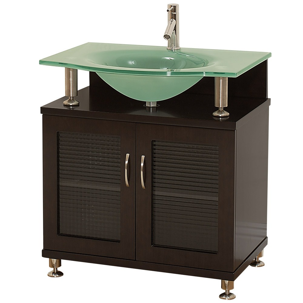 Darkwood Floating Frosted Glass Single Sink Vanity