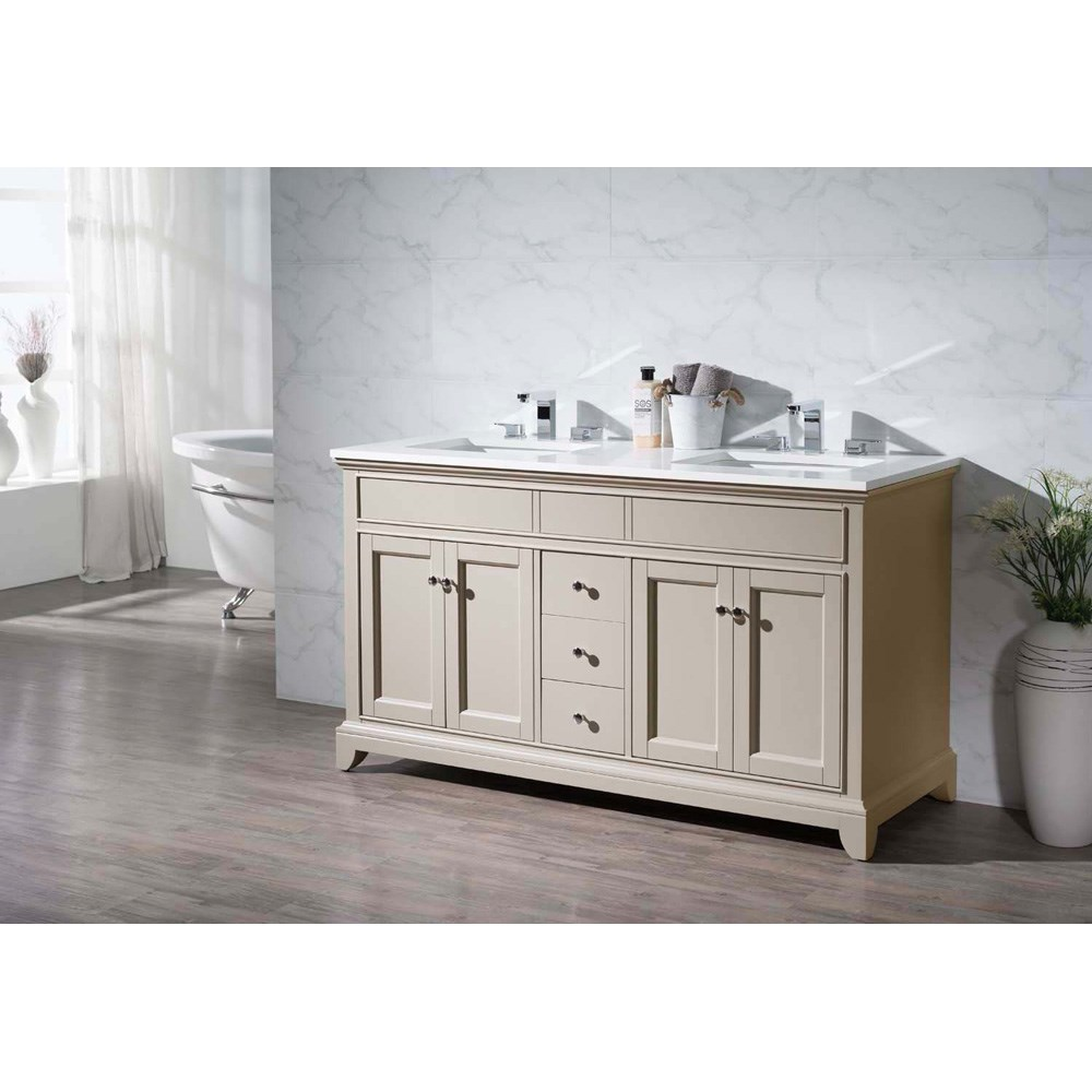 "Stufurhome Erin 59"" Double Sink Bathroom Vanity with White Quartz Top - Beige 