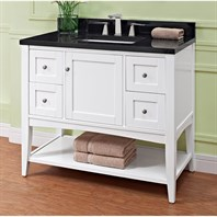 "Fairmont Designs Shaker Americana 42"" Vanity - Open Shelf for 1-1/4"" Thick Top - Polar White 1512-VH42--"