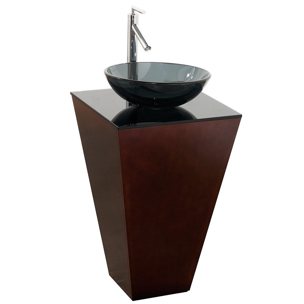 Esprit Bathroom Pedestal Vanity Set by Wyndham Collection - Espresso w/ Smoke Glass Vessel Sinknohtin Sale $599.00 SKU: WC-CS004-20-ESP-B015 :