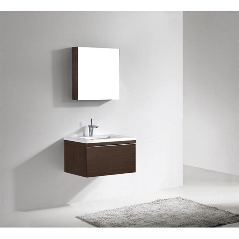 "Madeli Venasca 30"" Bathroom Vanity with Quartzstone Top - Walnut B990-30-002-WA-QUARTZ"