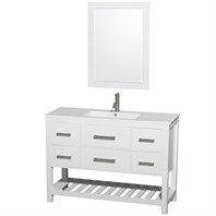 "Natalie 48"" Single Bathroom Vanity Set by Wyndham Collection - White WC-2111-48-SGL-VAN-WHT"
