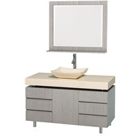 "Malibu 48"" Bathroom Vanity Set by Wyndham Collection - Gray Oak Finish with Ivory Marble Counter WC-CG3000-48-GROAK-IVO"