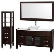 "Daytona 60"" Bathroom Vanity with Vessel Sink, Mirror and Cabinet by Wyndham Collection - Espresso WC-A-W2109T-60-ESP-SET"