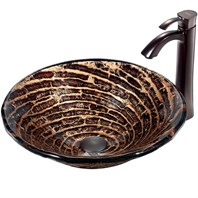 VIGO Chocolate Caramel Swirl Glass Vessel Sink and Faucet Set in Oil Rubbed Bronze VGT196