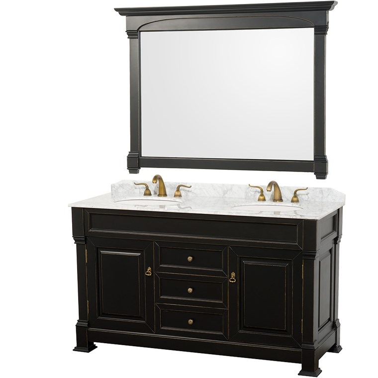 "Andover 60"" Traditional Bathroom Double Vanity Set by Wyndham Collection - Black WC-TD60-DBL-VAN-BLK"