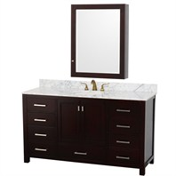 "Abingdon 60"" Single Bathroom Vanity Set by Wyndham Collection - Espresso WC-1515-60-ESP"
