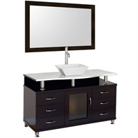 "Accara 55"" Bathroom Vanity with Drawers - Espresso w/ White Carrera Marble Counter B706D-55-ESP-WHTCAR"