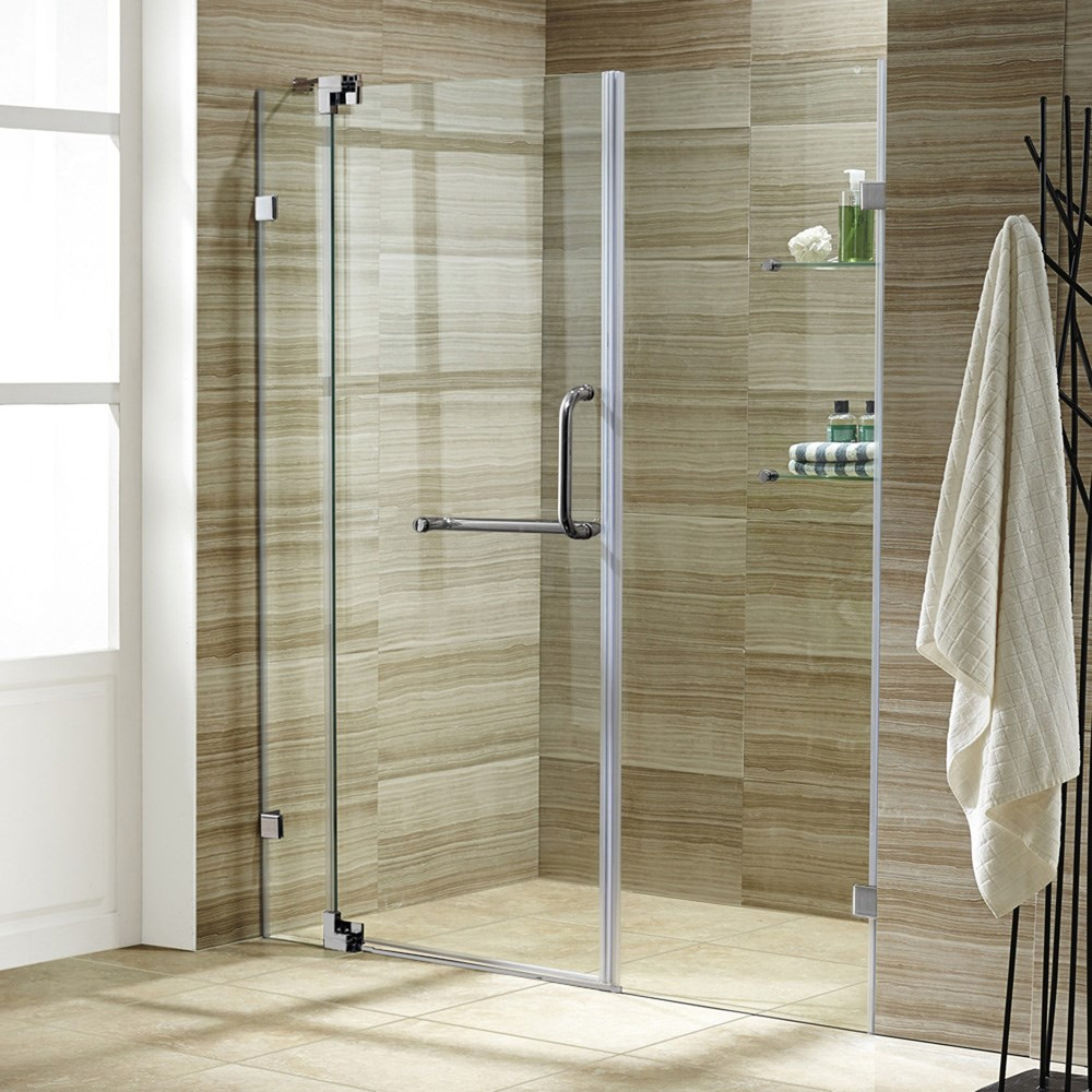 "VIGO 48-inch Frameless Shower Door 3/8"" Clear Glassnohtin Sale $1085.99 SKU: VG6042-48-Frameless :"
