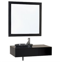 "Borla 33"" Wood Bathroom Vanity and Mirror - Espresso w/ Smoke Glass Sink"