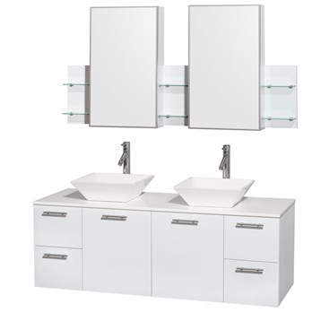 """Amare 60"""" Wall-Mounted Double Bathroom Vanity Set with Vessel Sinks by Wyndham Collection, Glossy White... by Wyndham Collection®"""