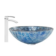 VIGO Rio Glass Vessel Sink and Duris Faucet Set VGT847-