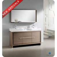 "Fresca Allier 60"" Gray Oak Modern Double Sink Bathroom Vanity with Mirror FVN8119GO"
