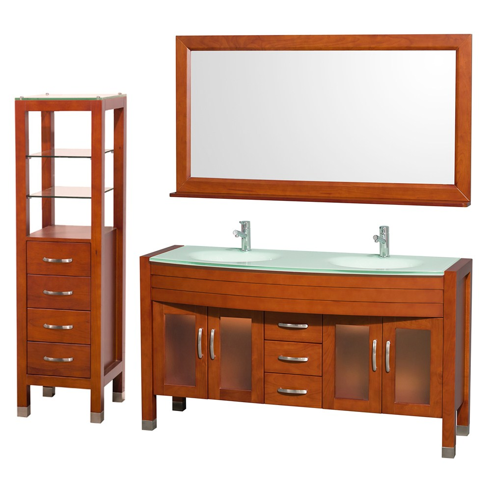 "Daytona 60"" Double Bathroom Vanity Set by Wyndham Collection - Cherrynohtin Sale $1789.00 SKU: WC-A-W2200-60-CH-SET- :"