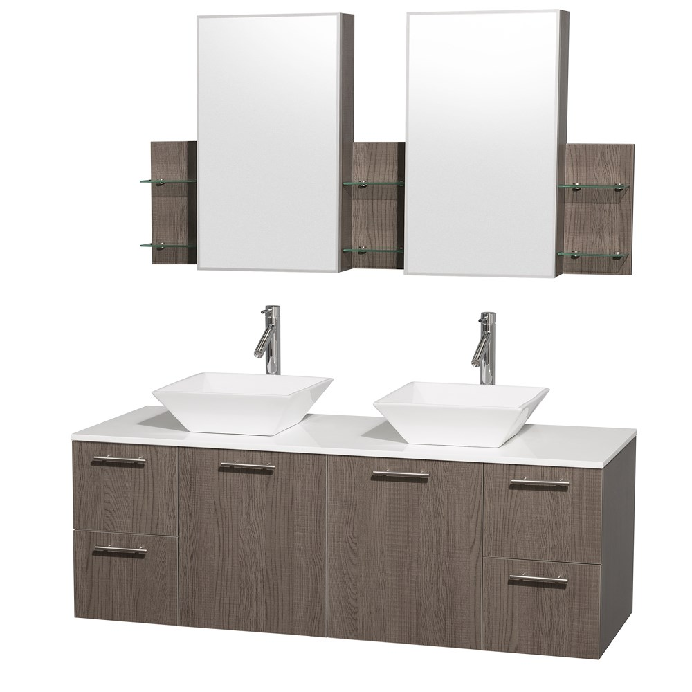 "Amare 60"" Wall-Mounted Double Bathroom Vanity Set with Vessel Sinks by Wyndham Collection - Gray Oak WC-R4100-60-VAN-GRO-DBL"