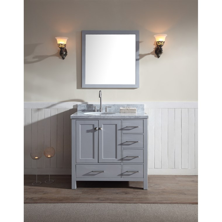 "Ariel Cambridge 37"" Single Sink Vanity Set with Left Offset Sink and Carrera White Marble Countertop - Grey A037S-L-GRY"