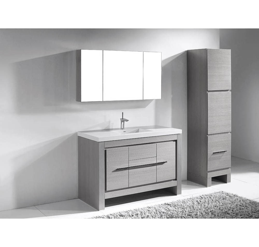 "Madeli Vicenza 48"" Bathroom Vanity For X-Stone - Ash Greynohtin"