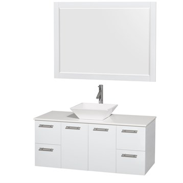 """Amare 48"""" Wall-Mounted Bathroom Vanity Set with Vessel Sink by Wyndham Collection, Glossy White WC-R4100-48-WHT by Wyndham Collection®"""