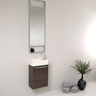 Fresca Pulito Small Gray Oak Modern Bathroom Vanity with Tall Mirror FVN8002GO