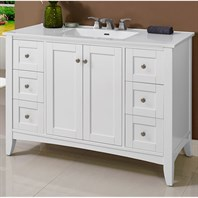 "Fairmont Designs Shaker Americana 48"" Vanity For Integrated Top - Polar White 1512-V48-"