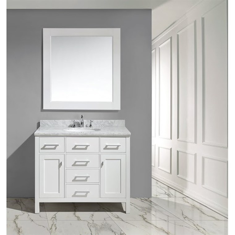 "Design Element London 42"" Bathroom Vanity with White Carrara Marble Countertop, Porcelain Sink and Mirror - White DEC076F-W"