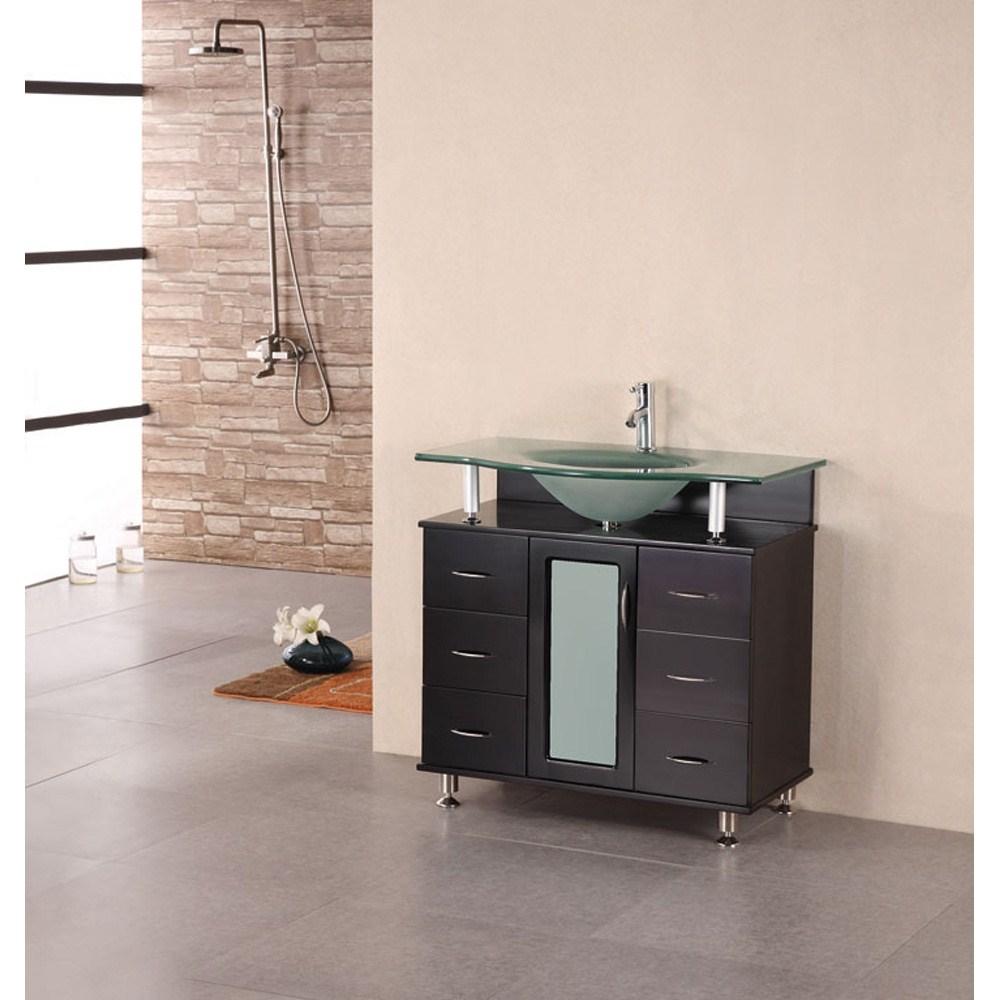 "Design Element Cascade 35"" Single Bathroom Vanity - Espresso"