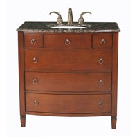 "Stufurhome 36"" Augustine Single Sink Bathroom Vanity with Baltic Brown Top - Cherry Red GM-2201-36-BB"