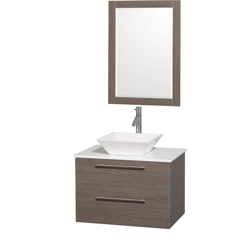"Amare 30"" Wall-Mounted Bathroom Vanity Set with Vessel Sink by Wyndham Collection - Gray Oaknohtin Sale $899.00 SKU: WC-R4100-30-GRO- :"