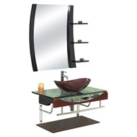 "Versa 36"" Bathroom Vanity with Glass Countertop & ZHJ48 Mirror - Chocolate"